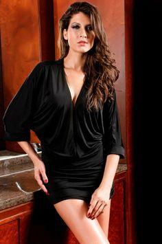 Vogue Wrapped Collar Bat-wing Sleeve Dress Black