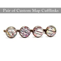 Anniversary Vintage Map Cufflinks. One Pair. You by BrassAndChain