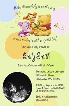 DIY PRINTABLE   Baby Winnie The Pooh Shower Ultrasound Photo Invitations  $12.00