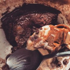Mid dessert pic 😍 my boy made protein mug cakes & topped them off with Dreyer's Slow Churned PB Cup ice cream.look at that glob of PB swirl Protein Mug Cakes, Cake Toppings, Icecream, Desserts, Food, Tailgate Desserts, Ice Cream, Deserts, Essen