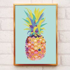 A bold and colourful pineapple print to add some tropical sunshine to your home.Please note: This print is sold unframed. The A4 print will be sent in a cellophane wrap contained within a card-backed envelope. The A3 print will be rolled inside a sturdy postage tube. Colours may vary from those on screen due to different monitor set-ups. Available in both A4 and A3 size options, this stylish print features a pineapple graphic on a pale minty turquoise background. Perfect as a gift or a…