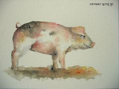 Pink Pig painting original watercolor art - free shipping within ...
