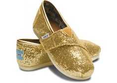 Gold Tiny TOMS Glitters @Madison Savoy - Don't you think Sadie could use these in PINK!!!!