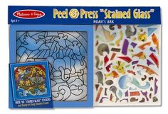 "[""This guided sticker activity and kids' craft kit gives children everything they need to create a shimmering \""stained glass\"" light catcher! The results are inspiring: Shaped sticker-gems depict a vibrant rainbow in the skies over Noah's Ark, with a menagerie of animals smiling from the deck. Hang the finished artwork in a sunny window to see the whole scene come aglow! It's easy to create: Just match the stickers to the number key and place them on the see-through design template. Young artists will be enchanted by the glittering results, and proud to show them off in the ready-to-hang frame. An ideal fine motor skills activity for kids ages six and up.\r\n<br><br>\r\nDimensions: 8.5\"" x 7.5\"" x 0.75\""""] $9.99"