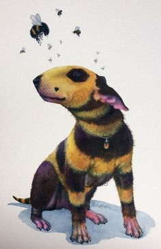 Nick Eggleston, Artist/Tutor, New Zealand, Watercolour 'Melissa Beeblebum' (Sold) Best Dog Breeds, Best Dogs, Tatuaje Bull Terrier, Bull Terrier Funny, Bully Dog, English Bull Terriers, Animal Paintings, Beautiful Dogs, I Love Dogs