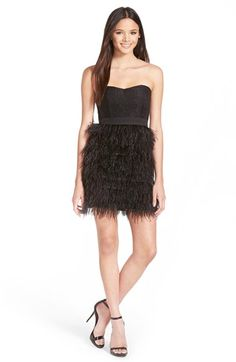 a.+drea+Faux+Feather+Skirt+Strapless+Dress+available+at+#Nordstrom