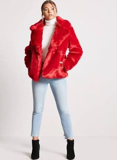 How to Wear Bright Colors in the Winter Red Fur, Christmas Fashion, Winter Wear, Coats For Women, Latest Trends, Fur Coat, Winter Jackets, Stylish, Womens Fashion