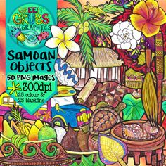 Samoan Clip Art} …A warm gardenia scented breeze is ruffling through the coconut fronds as you listen to the sound of gently lapping waves with a cold Vailima in hand….. ahhhhhh!  This set of Samoan objects clip art contains 50 images (25 colour and 25 blackline) as high quality (300 dpi) PNGs with transparent backgrounds.