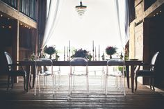 Acrylic Ghost Chairs at Barn Reception | photography by http://onesummerdayphoto.com