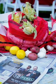 Crawfish boil centerpieces
