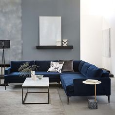 West Elm offers modern furniture and home decor featuring inspiring designs and colors. Create a stylish space with home accessories from West Elm. Colourful Living Room, Living Room Grey, Living Room Sofa, Living Room Interior, Home Living Room, Living Room Furniture, Living Room Designs, Living Room Decor, Blue Velvet Sofa Living Room