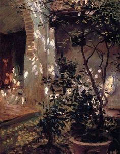 J. J. Sargent (1856 - 1925). Granada: riflessi di sole, 1912. Oil on canvas.