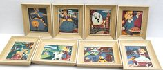 vintage nursery rhyme themed small paintings // set of 8 // paint by numbers