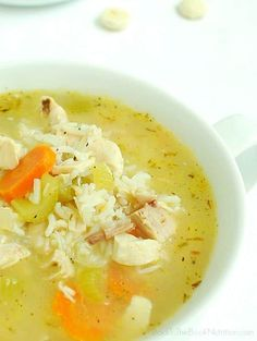 Homemade chicken and rice soup in only 20 minutes, made with homemade chicken broth and rotisserie chicken meat.