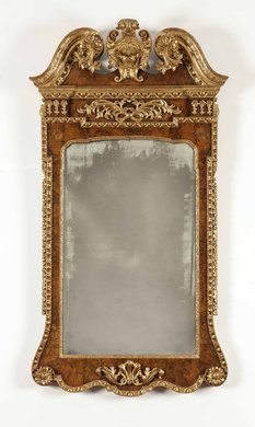 George II Walnut & Parcel-Gilt Mirror, c1740