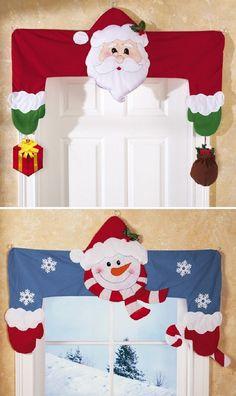 Christmas Holiday Door & Window Frame Huggers Santa & Snowman