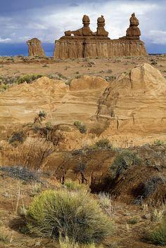 Three Sisters- Goblin Valley, Severe County, Utah via Flickr. @ Gazuntai.com