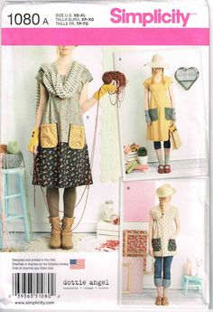 Mori Girl Boho Granny Chic Dress Tunic Top Patch Pockets Simplicity 1080 Sewing Pattern by PeoplePackages