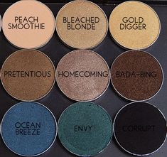 Makeup Geek Eyeshadows...true MAC dupes and extremely pigmented!!! Half the price! <3 peach smoothie and envy!