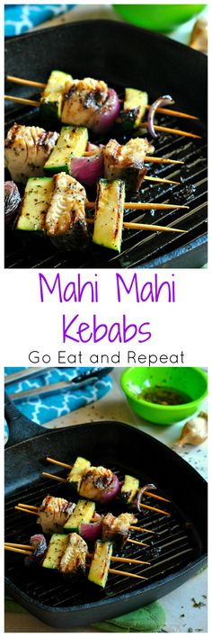 Mahi Mahi Kebabs are the perfect light dinner! Zucchini, red onion, and rich mahi mahi are grilled together leaving you supercharged all day long! Fish Recipes Swai, Parmesan Fish Recipe, Easy Fish Recipes, Healthy Recipes, Whole30 Recipes, Healthy Eats, Fish Dishes, Seafood Dishes, Seafood Recipes