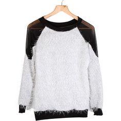 #Valentines #AdoreWe #TomTop - #generic Women T-Shirt Pullover Jumper Tops See-thru Gauze Patchwork Mesh White & Black - AdoreWe.com