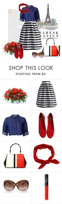 """""""82 Stripes Bottoms"""" by lilica-k ❤ liked on Polyvore featuring La Tour Eiffel, Chicwish, Yves Saint Laurent, Prada, Tom Ford, NARS Cosmetics and stripes"""