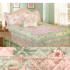 <li>Add cottage charm to your bedroom decor with a quilt set <li>Victorian set includes quilt, two shams, bed skirt and toss pillow <li>Bedding features delicate flower print in colors of lilac, pink and sage green