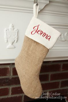 Burlap Christmas Stocking  Cream and Red detail  by DaintyCouture, $23.00