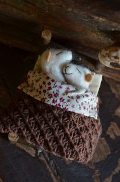 Sleeping Married Sweet Tiny Mice  unique  needle by feltingdreams, $118.00