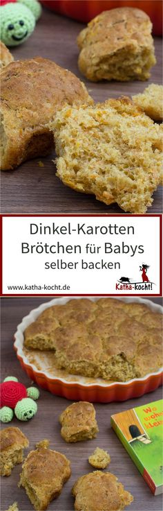 Dinkel-Karotten Brötchen für Babys selber backen With this recipe you can easily and quickly bake delicious spelled and carrot rolls for your baby or toddler – the recipe is always on katha-kocht! Baby Puree Recipes, Baby Food Recipes, Food Baby, Backen Baby, Baby Snacks, Baby Food Storage, Maila, Baby Finger Foods, Homemade Baby Foods