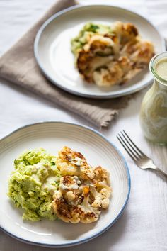 Cauliflower Steaks Over Garlicky Edamame Mash |An easy #vegan, #glutenfree, root-to-stalk and high protein dinner | The Full Helping