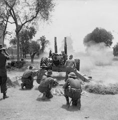 A 5.5-inch gun of 19th Indian Division in action against the walls of Fort Dufferin near Mandalay, 9-10 March 1945. SE 3261