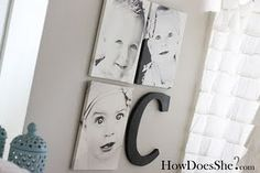 Make a photo collage with three images and a painted letter.  Great for a child's room or family photos.
