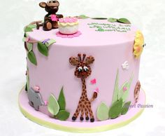 Pink animal cake Dierentaart