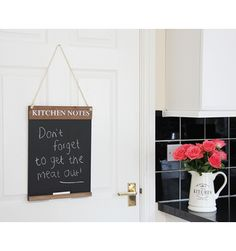 Christmas Gift Guide - Rustic kitchen chalkboard available in three sizes and two colours. Starting from Kitchen Blackboard, Rustic Kitchen, Christmas Gift Guide, Christmas Gifts, How To Clean Chalkboard, Liquid Chalk Pens, Kitchen Notes, Chalk Design, Hanging Rope