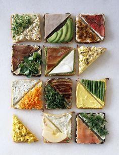 Great ideas for tea sandwiches or tapas Healthy Snacks, Healthy Eating, Healthy Recipes, Delicious Recipes, Fast Recipes, Tea Recipes, Drink Recipes, Dinner Recipes, Tapas