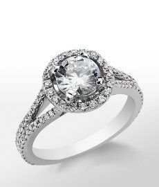 image of blue nile monique lhuillier split halo diamond ring 1.4 carat F color VS1 - Google Search