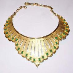 Vintage Jomaz Bib Necklace, Choker w/ Cabochon Green Stones