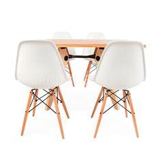 Rectangular Light Gueridon Wood Dining Table & 4 DSW Chairs Prouve & Eames Style #FurnitureSourceWorldwide #MidCenturyModern Dining Furniture Sets, Dining Sets, Chaise Dsw, Midcentury Modern, Eames, Solid Wood, Dining Table, Vertigo, Designer