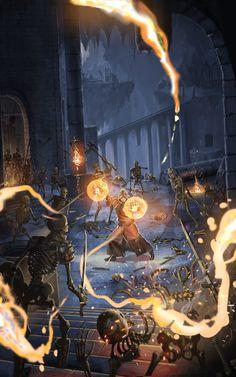 Mage fighting undead by Hokunin.deviantart.com on @DeviantArt