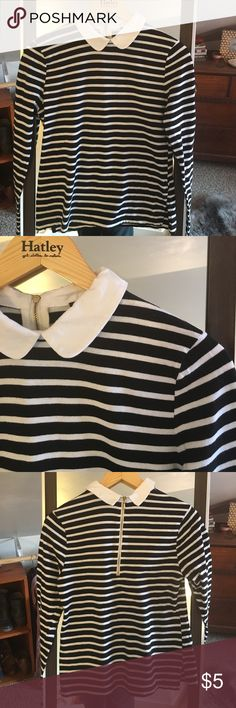 Peter Pan collared long sleeve striped shirt Super cute Peter Pan collared striped tshirt. Forever 21 Tops Tees - Long Sleeve