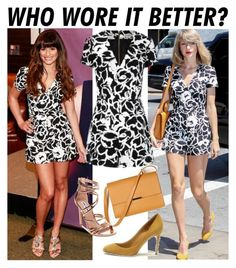 """""""Who Wore It Better: Lea Michele and Taylor Swift in Suno Deep V Romper"""" by farrahdyna ❤ liked on Polyvore featuring SUNO New York, Gucci, Bhailiù and Steve Madden"""
