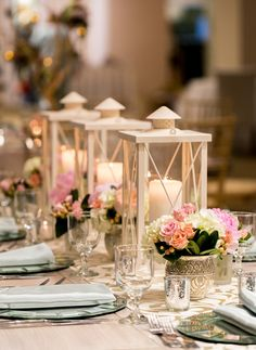 Lanterns for wedding tablescape