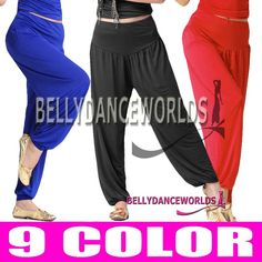 BELLY DANCE YOGA SPORTS COSTUME TRIBAL HAREM GENIE PANTS LONG BOLLYWOOD DANCING | eBay