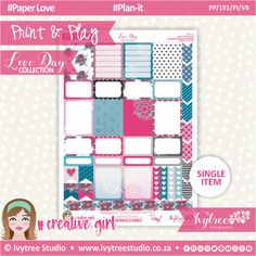 PP/191/PI/VB - Print&Play - PLAN-IT - Variety Boxes - Love Day Collection #PrintAndPlay #PlannerStickers #Scrapbooking #PaperCrafts #DigitalProducts