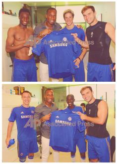 Didier Drogba hangs out with Torres, Terry & Ivanovic as his visits Chelsea