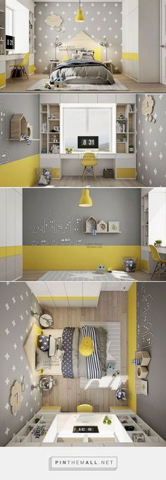 Kids' Room: yellow accents within a pale grey, white and lig.- Kids' Room: yellow accents within a pale grey, white and light woodtone scheme. … Kids' Room: yellow accents within a pale grey, white and light woodtone scheme. Boys Bedroom Furniture, Bedroom Furniture Makeover, Bedroom Decor, Bedroom Kids, Kid Bedrooms, Furniture Ideas, Shared Bedrooms, Furniture Market, Trendy Bedroom