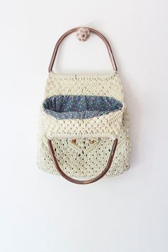 WHOLE GRAIN purse Vintage 1970s cream macrame by GoldBanana