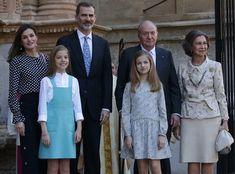 Newmyroyals: Easter Mass, Cathedral of Palma de Mallorca, Palma de Mallorca, Spain, April 1, 2018-Queen Letizia, Infanta Sofía, King Felipe, Infanta Leonor, King Juan Carlos, Queen Sofia