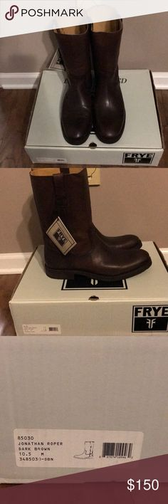 Men's Jonathan Roper Boots Frye Jonathan Roper dark brown leather boot Frye Shoes Boots